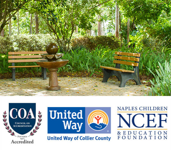 Bench seating under shaded trees | Youth Haven Naples, Florida