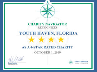 Certificate from Charity Navigator - Youth Haven 4 Star Charity | Youth Haven SWFL