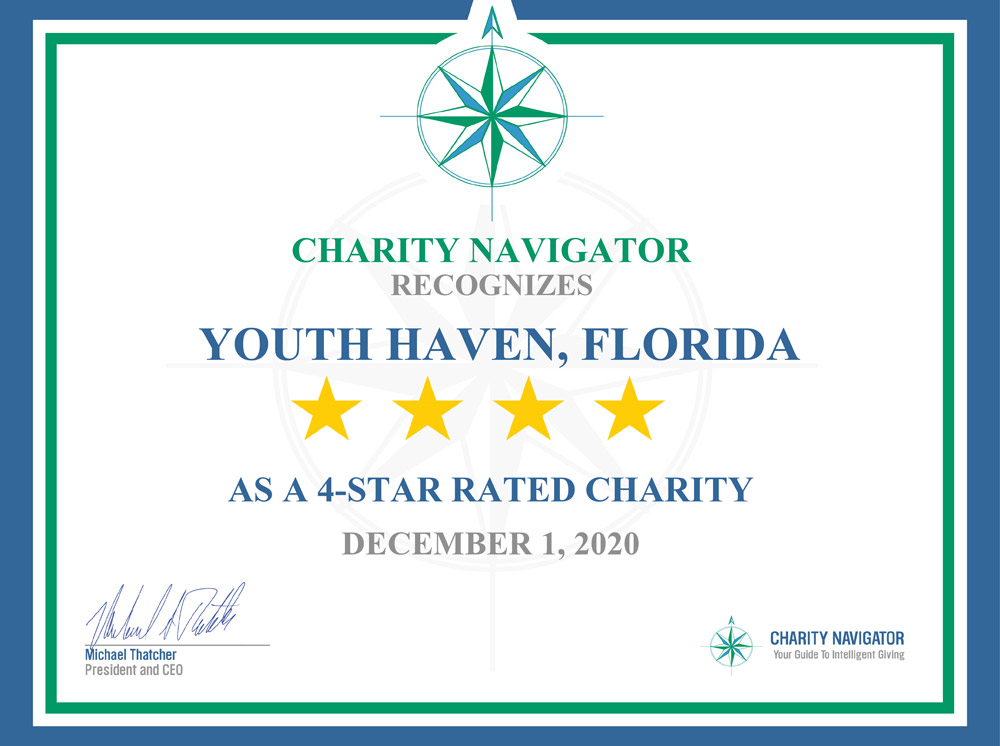 2020 Certificate from Charity Navigator - Youth Haven 4 Star Charity | Youth Haven SWFL